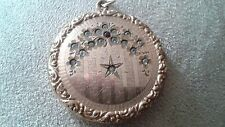 Gorgeous Edwardian gold fill locket, rhinestone moon and star, opulent outer edg