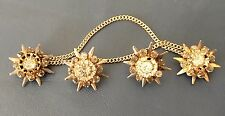 Antique Estate Sterling Silver Star Gem Stone Cluster Earrings Sweater Pin 1908