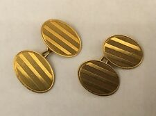 Vintage 18ct 18k Yellow Gold Stripe Design Chain Cuff links Cufflinks