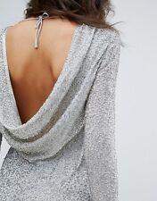 Miss Selfridge Metallic Beaded Cowl Back Evening Dress in Silver UK 8/EU 36/US 4