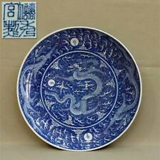 A LARGE QING BLUE AND WHITE ENAMELLED DRAGON DISH, CHU XIU GONG ZHI SEAL MARK