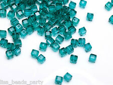 50pcs 4mm Cube Square Faceted Crystal Glass Loose Spacer Beads Peacock Green New