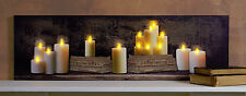 Old Books and Candles Mantle w 6 hr timer 6x20 Radiance Lighted Canvas 72622 NEW