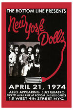 Early Punk: New York Dolls at The Bottom Line in New York  Concert Poster 1974