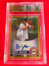 2011 Topps Chrome Brian Johnson Gold Ref. Autograph Auto #'d 14/50 BGS 9.5/10