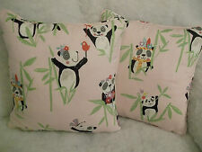 PRESTIGIOUS STUNNING COTTON FABRIC PANDA  1 PAIR CUSHION COVERS