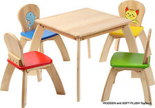 VOILA TOY sturdy wooden childs SQUARE TABLE, 4 CHAIRS kids play room cubby house
