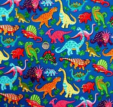 Dinosaur Dance on Blue fabric fq 50x56 cm Nutex 87550-2