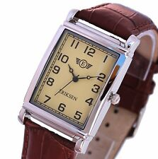 Mens Dress Watch Rectangular Vintage Leather Strap Mans Wrist Watch MCS