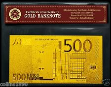 24k Gold 500 Euro Banknote with C.O.A. 999 Bullion