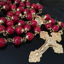 Gold Real RED CORAL JADE BEADS Vatican Catholic rosary necklace jesus cross BOX