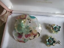 BULK LOT Lucite & Rhinestones Large 3D Flower Brooch + Earrings - Estate Find