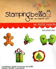 New Stamping Bella Cling Rubber Stamp CHRISTMAS mini envelope accents set