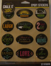 NEW 12 pc CHALK IT NOW WORDS Epoxy Stickers Home Laugh Love Family K & CO 3D