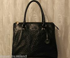 Karen Millen Signature Ostrich Leather Large Shopper Shoulder Tote Zip Bag £265