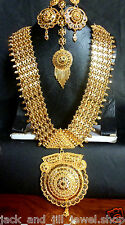 10'' Long 22K Gold Plated Rani Haar South Indian Wedding Necklace Jewelry Set