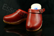 size 8 UK / 41 EU Women's wooden clogs, swedish style , RED  leather