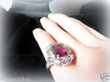 ART DECO/NOUVEAU VINTAGE STERLING SILVER FILIGREE RING! PINK STONE & GOLD ACCENT