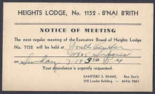 1942 HEIGHTS LODGE #1152-BNAI BRITH, MEETING NOTICE, CLEVELAND OH