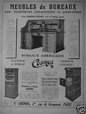 PUBLICITÉ 1909 MEUBLES DE BUREAUX COSMOS CLASSEUR A RIDEAU - ADVERTISING