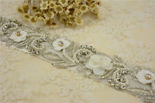 Splendido rhineatone BRIDAL Applique Diamante Motif PERLE WEDDING APPLIQUE TRIM