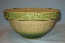 """Antique HULL Gothic Arches Cathedral Green Yellowware 9 1/2"""" Mixing Bowl"""
