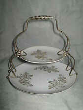 Vintage Double Tier Snack Plate with Metal Holder - Japan