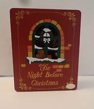 [The Night Before Christmas Wood Book Animated Music Box Plays Here Comes Santa