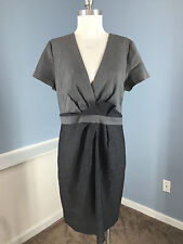 J Crew Gray Sheath Wool Suiting Dress Career Cocktail Plaid Combo L 12 Excellent