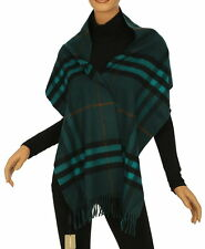 NEW BURBERRY DARK TEAL GIANT CHECK 100% CASHMERE SCARF WRAP MADE IN SCOTLAND