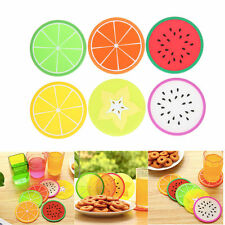 6PCS Fruit Vinyl Coaster Groovy Record Cup Drinks Holder Mat Tableware Placemat