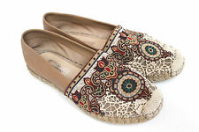 Valentino Biege Leather Embroidered Lace Espadrilles 39 uk 6