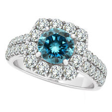 1.98 Carat Blue SI1 Round Diamond Solitaire Wedding Bridal Ring 14K White Gold