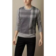 Burberry Brit Grey Wool Cashmere Needlepunch Check Sweater M/L New $595