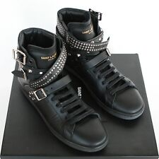 SAINT LAURENT $995 studded strap shoes leather Wolly hi top sneakers 37/7 NEW