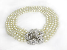 Pearl Necklace Audrey Hepburn Style Jewelry Faux Diamond Clasp 5 Strand Pearls