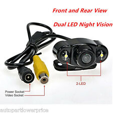 2 LED 170° Reverse Backup Car Front Rear View Camera Night Vision Parking CCD