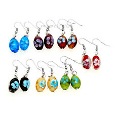 wholesale 50 pairs Fashion Flower 3D Handmade glass bead Silver Dangle earrings