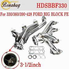 2PCS Fit FORD 330/360/390-428 BIG BLOCK FE Steel Shorty Headers Exhaust Manifold
