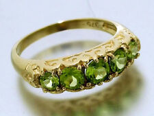 R163- SOLID 9ct GOLD NATURAL Peridot Eternity Bridge Ring Anniversary size M