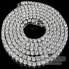 "MENS NEW 925 STERLING SILVER ICED OUT 1 ROW TENNIS CHAIN NECKLACE 30""x 3 mm 37g"