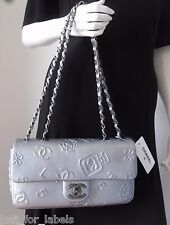 CHANEL Silver Iconic Lucky Charm Metallic  Leather CC Med Crossbody Flap Bag NWT