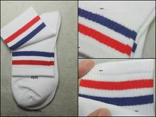 New White/Blue/Red OLD SCHOOL  Striped Tube Socks  No.s009