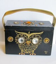 VINTAGE ENID COLLINS Rare NIGHT OWL BOX PURSE JEWELED WOOD HANDBAG HTF