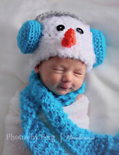 Newborn/Baby Crochet Snowman with Teal Earmuffs Hat and Scarf Set Photo Prop