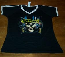 VINTAGE STYLE WOMEN'S TEEN GUNS N' ROSES SKULL T-shirt LARGE NEW