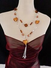 Statement Necklace Long 48cm Brown multi Resin Beads - Large Heart Beads 119BR