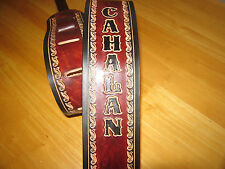 CUSTOM MADE GENUINE LEATHER GUITAR STRAP MAHOGANY/ BLACK YOUR NAME 3 INCHES WIDE