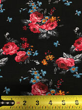 Rayon Stretch Jersey Knit Fabric Beautiful Floral Black Teal Red by the yard 9oz