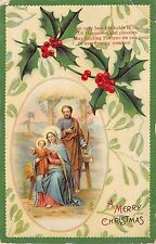 Greeting E Postcard A Merry Christmas Holly Berries Jesus Joseph and Mary   026